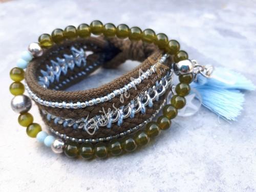 É-bracelet in leverkleur met lichtblauw - e 21